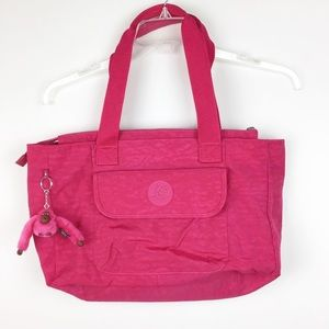Kipling Hot Pink Tote with Monkey